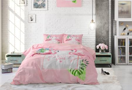 Katoenen dekbedovertrekken van Dreamhouse | Stijlvol beddengoed in 7 printjes Sunny Flamingo's Pink