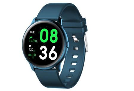 Smartwatch voor dames en heren | Smart horloge met o.a. gps-, hartslag- en bloeddrukfunctie! Donkerblauw