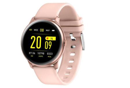 Smartwatch voor dames en heren | Smart horloge met o.a. gps-, hartslag- en bloeddrukfunctie! Roze
