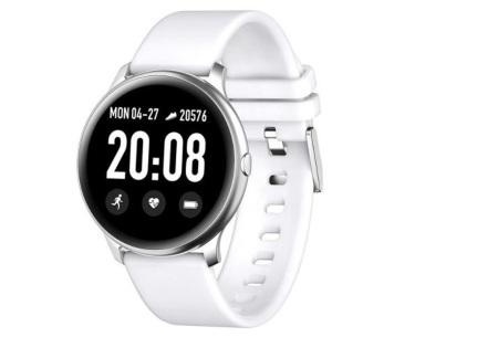 Smartwatch voor dames en heren | Smart horloge met o.a. gps-, hartslag- en bloeddrukfunctie! Wit