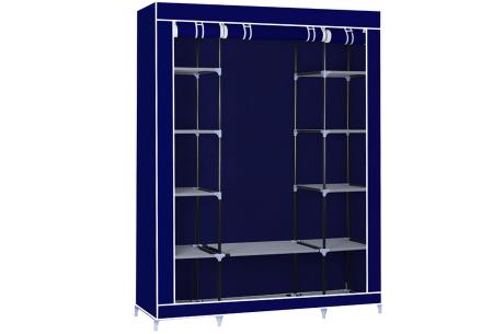 Herzberg opbergkast | Stoffen garderobekast met oprolbare deur Large - blauw