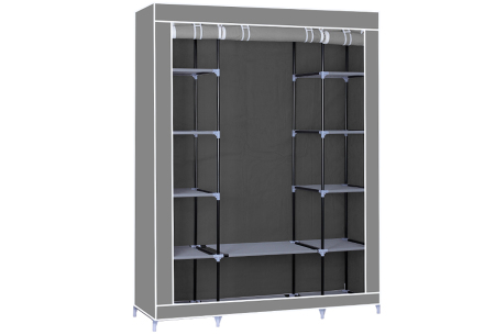 Herzberg opbergkast | Stoffen garderobekast met oprolbare deur Large - grijs