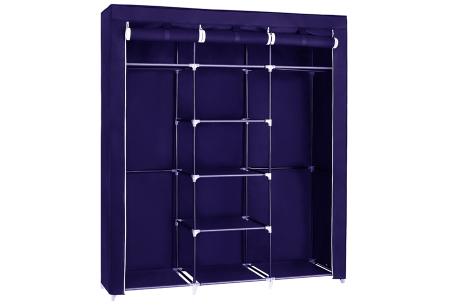 Herzberg opbergkast | Stoffen garderobekast met oprolbare deur Medium - blauw