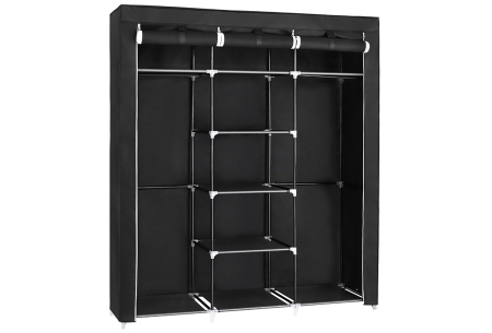 Herzberg opbergkast | Stoffen garderobekast met oprolbare deur Medium - zwart
