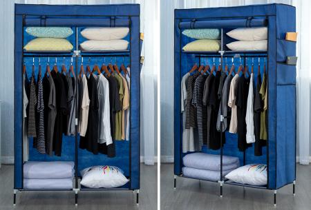 Herzberg opbergkast | Stoffen garderobekast met oprolbare deur Small - blauw