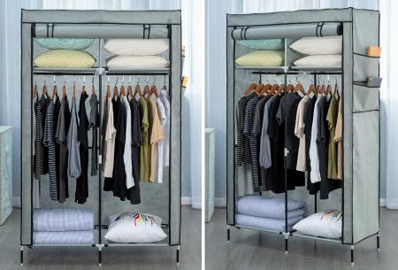 Herzberg opbergkast | Stoffen garderobekast met oprolbare deur Small - grijs