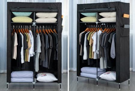 Herzberg opbergkast | Stoffen garderobekast met oprolbare deur Small - zwart