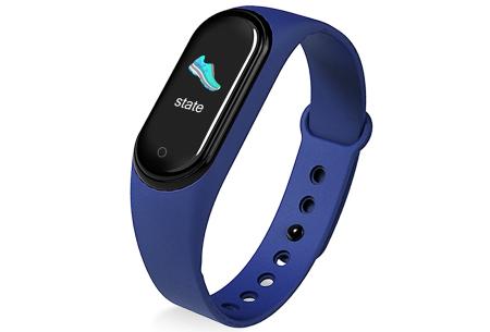 Smart Activity tracker   Waterdicht Bluetooth horloge met hartslagmeter en slaapmonitor Blauw