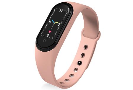 Smart Activity tracker   Waterdicht Bluetooth horloge met hartslagmeter en slaapmonitor Roze