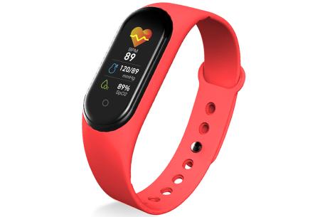 Smart Activity tracker   Waterdicht Bluetooth horloge met hartslagmeter en slaapmonitor Rood