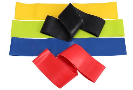 Set van 5 weerstandsbanden | Train je buik, benen, armen en borst met deze fitness elastieken!