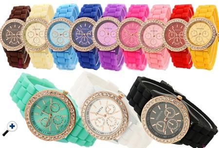 Horloge met rosékleurige details en kristallen t.w.v. €34,95 nu GRATIS!