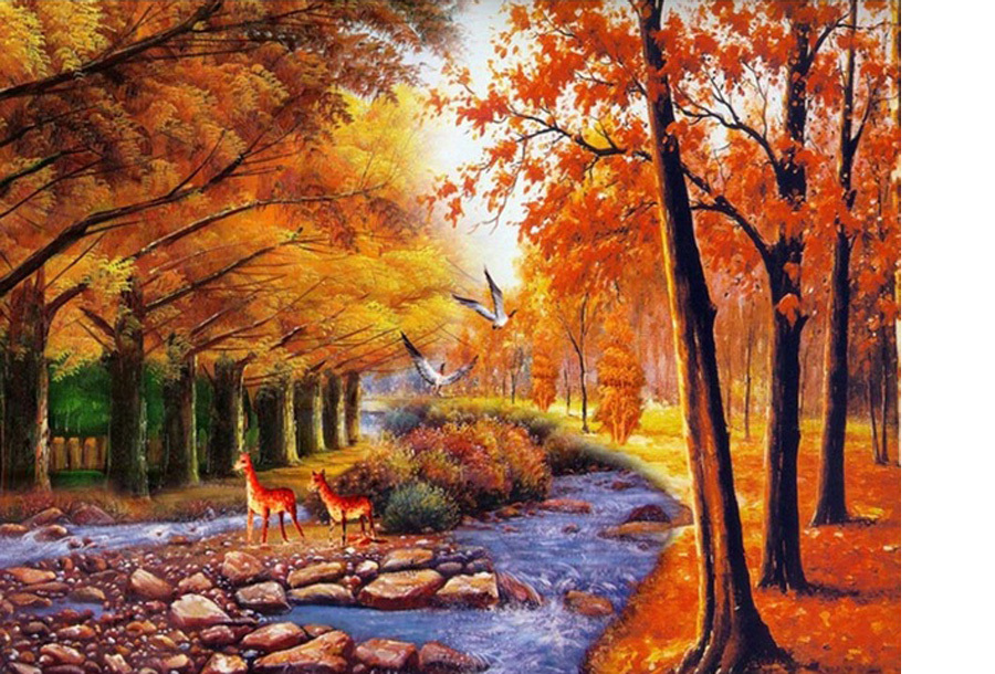 Diamond painting herfst 80 x 100 cm - #12