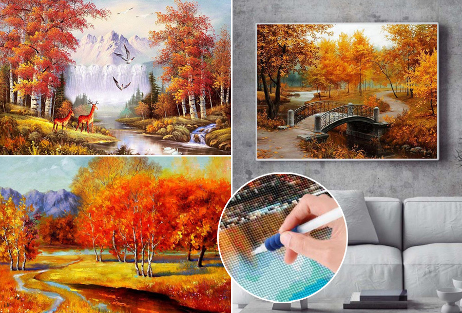 50% korting: Diamond painting herfst landschappen
