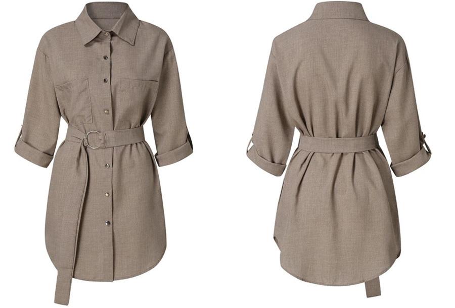 Lange blouse met riem - Khaki - Maat M