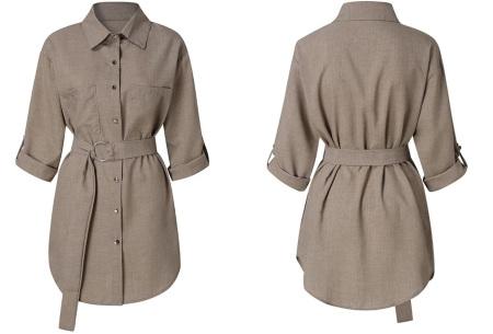 Lange blouse | Chique dames blouse met riem Khaki