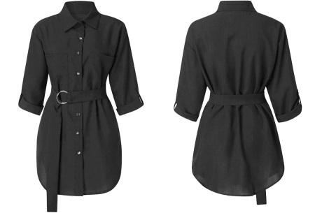 Lange blouse | Chique dames blouse met riem Zwart