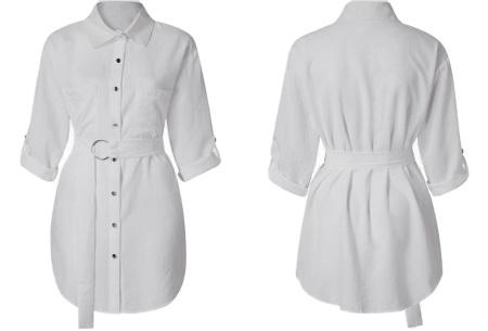 Lange blouse | Chique dames blouse met riem Wit