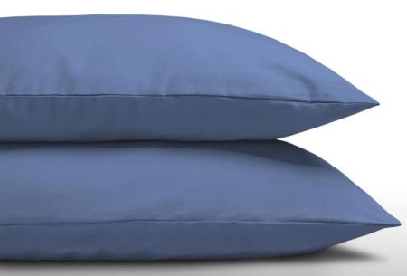 Set van 2 katoenen kussenhoezen | Zachte kussenslopen in 9 kleuren Blauw