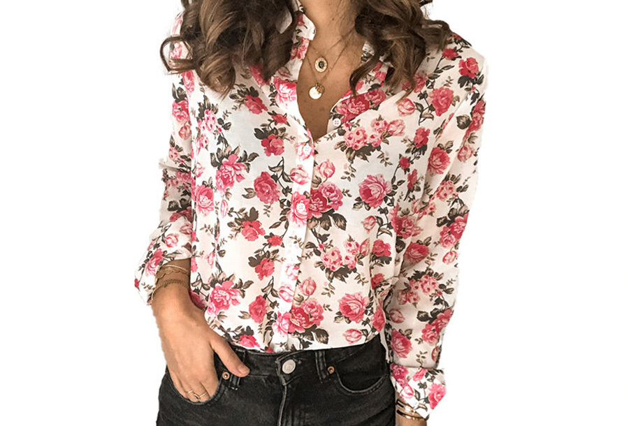 Dames blouse met print - Maat XL - Wit