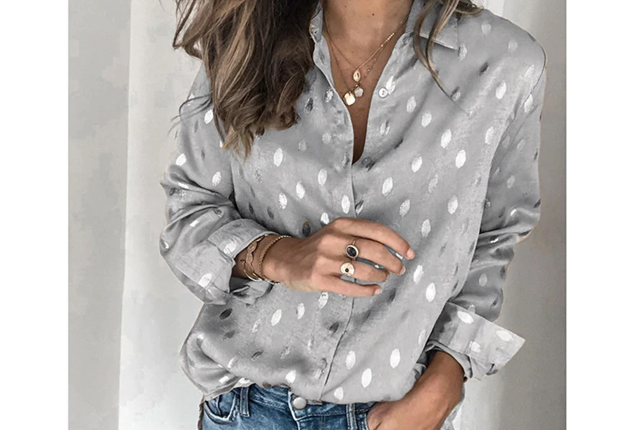 Dames blouse met print - Maat XS - Zilvergrijs