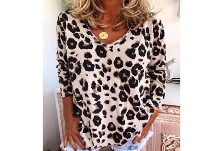 Lange mouwen shirt | Met V-hals en trendy panterprint Khaki