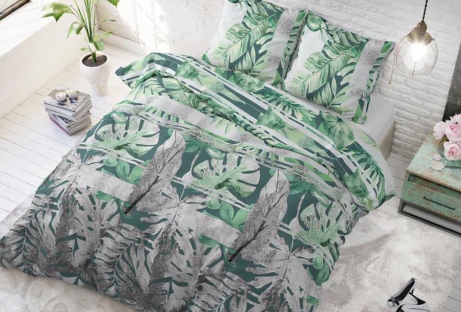 Dekbedovertrek met print Formaat 240 x 220 cm - Bendos green