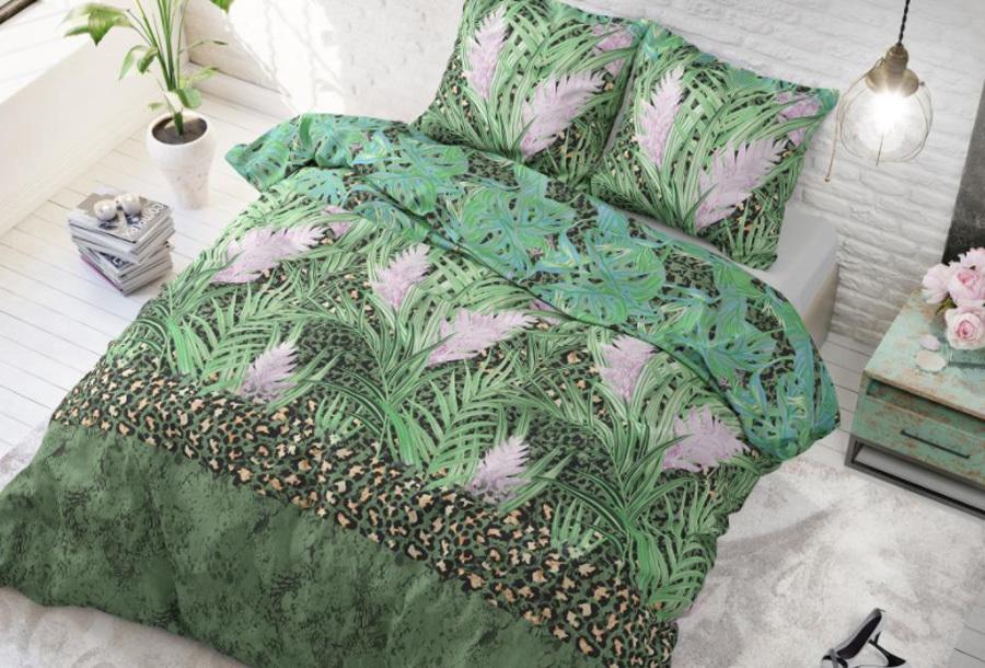 Dekbedovertrek met print Formaat 240 x 220 cm - Future jungle green