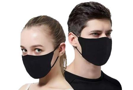 3-pack wasbare mondkapjes | Herbruikbare stoffen mondmaskers van 100% katoen zwart