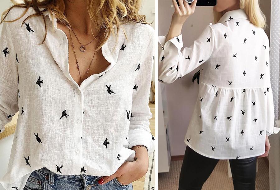 Birds blouse - Maat L - Wit