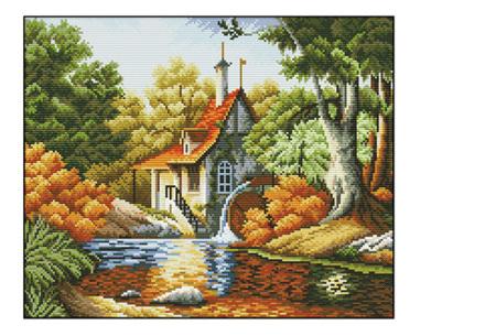 Borduurpakket | Maak de mooiste schilderijen met deze complete borduurset #9 Boshuisje