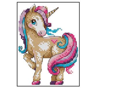 Borduurpakket | Maak de mooiste schilderijen met deze complete borduurset #7 Eenhoorn
