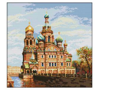 Borduurpakket | Maak de mooiste schilderijen met deze complete borduurset #12 Oosters kasteel