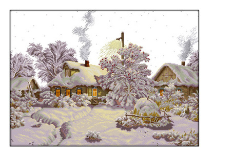 Borduurpakket | Maak de mooiste schilderijen met deze complete borduurset #11 Sneeuwdorp
