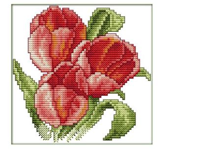 Borduurpakket | Maak de mooiste schilderijen met deze complete borduurset #4 Tulpen