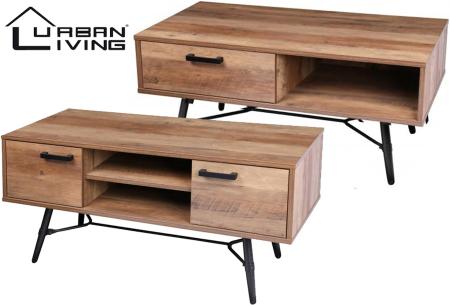 Houten salontafel en tv-meubel van Urban Living | Prachtige industriële meubels in de aanbieding
