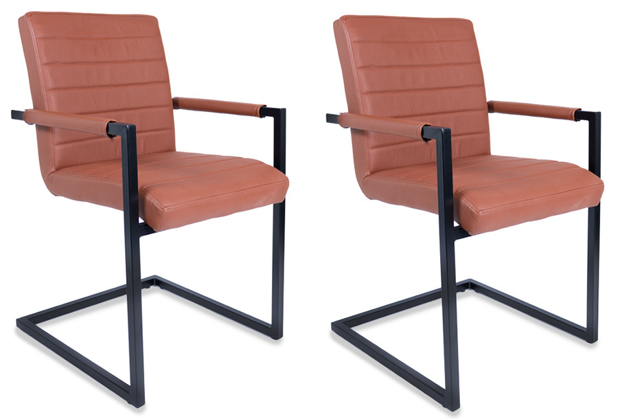 Lifa Living Adelaide stoelen buffelleer Cognac