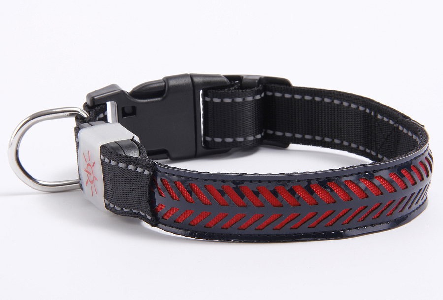 Hondenhalsband met licht Maat S - Zwart