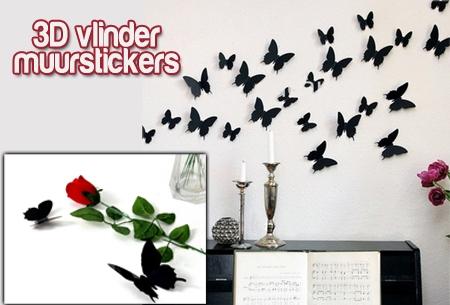 3D vlinder muurstickers in 13 kleuren t.w.v. €34,95 nu €9,95!