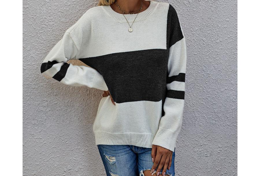 Colorblock trui Maat L - Zwart