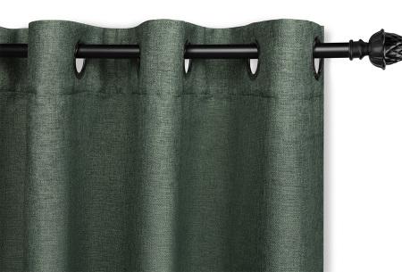 Luxe verduisteringsgordijnen kant en klaar van Lifa Living | Geweven kwaliteit met haken of ringen Groen ringen