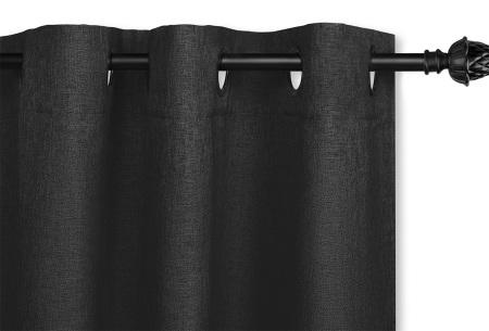 Luxe verduisteringsgordijnen kant en klaar van Lifa Living | Geweven kwaliteit met haken of ringen Zwart ringen