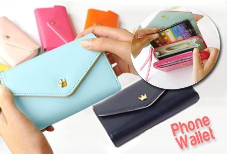 Phone Wallet: telefooncase en portemonnee in één! Van €24,95 nu €9,95