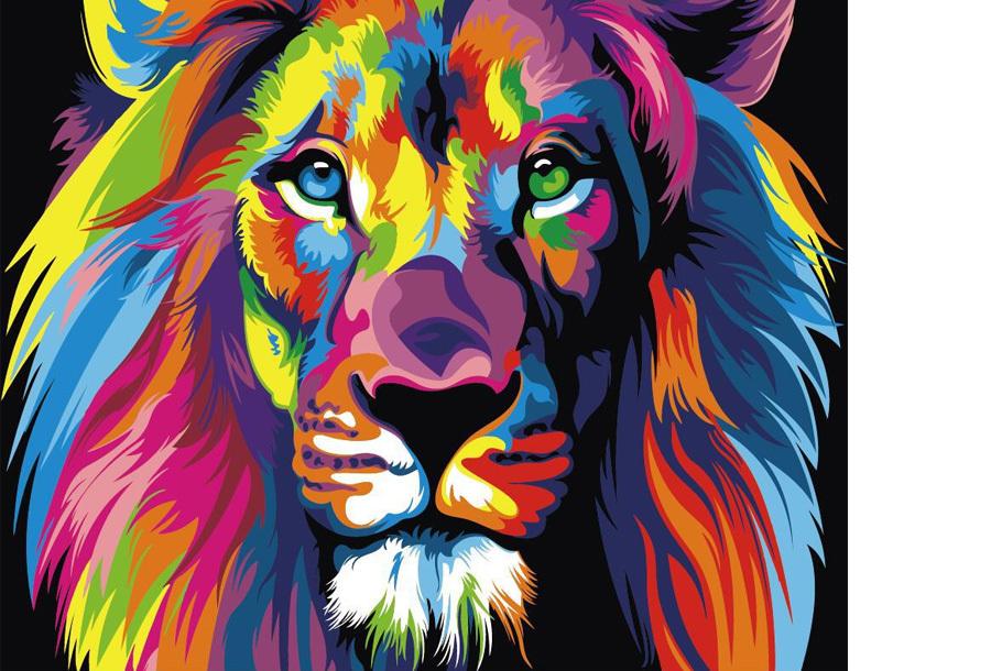 Schilderen op nummer #3 Leeuw