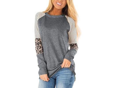 Dames top met lange mouwen   Trendy en origineel shirt met gedeeltelijke prints Donkergrijs