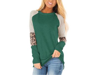 Dames top met lange mouwen   Trendy en origineel shirt met gedeeltelijke prints Donkergroen