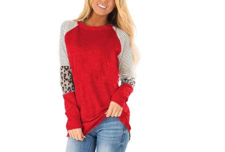 Dames top met lange mouwen   Trendy en origineel shirt met gedeeltelijke prints Rood