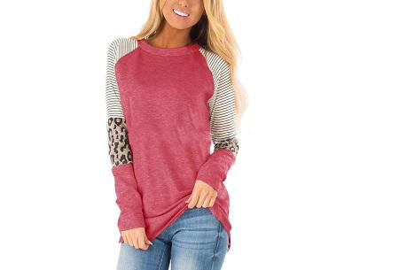 Dames top met lange mouwen   Trendy en origineel shirt met gedeeltelijke prints Roze