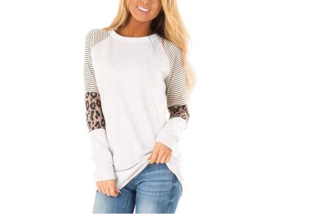 Dames top met lange mouwen   Trendy en origineel shirt met gedeeltelijke prints Wit