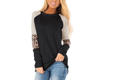 Dames top met lange mouwen   Trendy en origineel shirt met gedeeltelijke prints Zwart